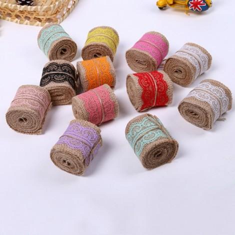 1m Natural Jute Burlap Lace Trim Ribbon DIY Sewing Craft Wedding Christmas Gift Decoration Royalblue