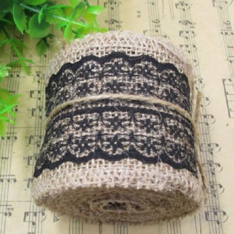 1m Natural Jute Burlap Lace Trim Ribbon DIY Sewing Craft Wedding Christmas Gift Decoration Black