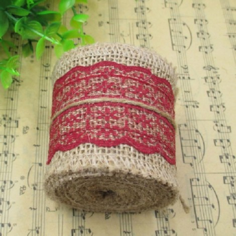 1m Natural Jute Burlap Lace Trim Ribbon DIY Sewing Craft Wedding Christmas Gift Decoration Wine Red