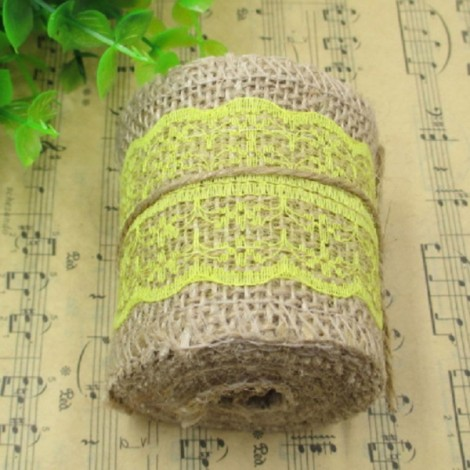 1m Natural Jute Burlap Lace Trim Ribbon DIY Sewing Craft Wedding Christmas Gift Decoration Yellow