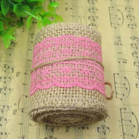 1m Natural Jute Burlap Lace Trim Ribbon DIY Sewing Craft Wedding Christmas Gift Decoration Rose Red