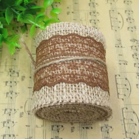 1m Natural Jute Burlap Lace Trim Ribbon DIY Sewing Craft Wedding Christmas Gift Decoration Light Coffee