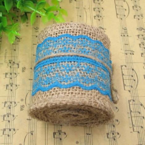 1m Natural Jute Burlap Lace Trim Ribbon DIY Sewing Craft Wedding Christmas Gift Decoration Dark Lake Blue