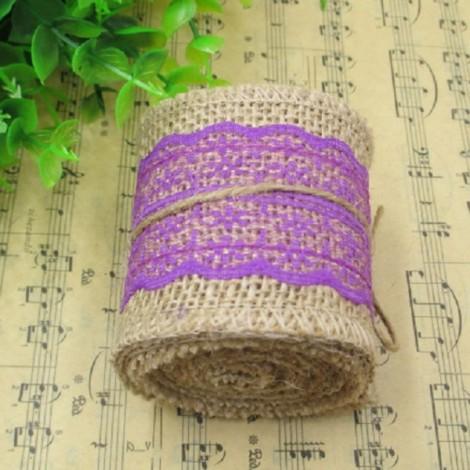 1m Natural Jute Burlap Lace Trim Ribbon DIY Sewing Craft Wedding Christmas Gift Decoration Dark Purple