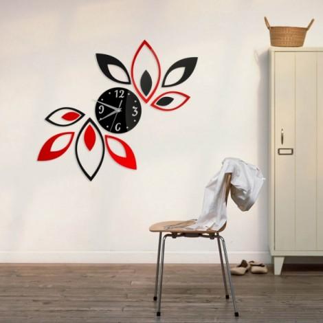 Fashion Home Decoration Lotus DIY 3D Acrylic Mirror Clock Wall Sticker Red & Black