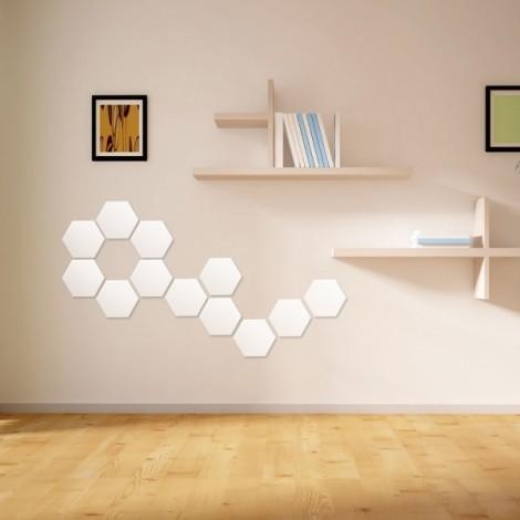 Fashion Plastic DIY 3D Mirror Wall Stickers Creative Living Room Hexagon Stickers Silver