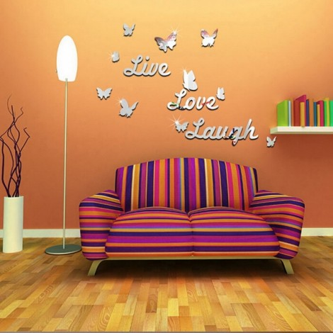 Butterfly and English Letter Mirror Sticker for Living Room Background Wall Sticker Silver