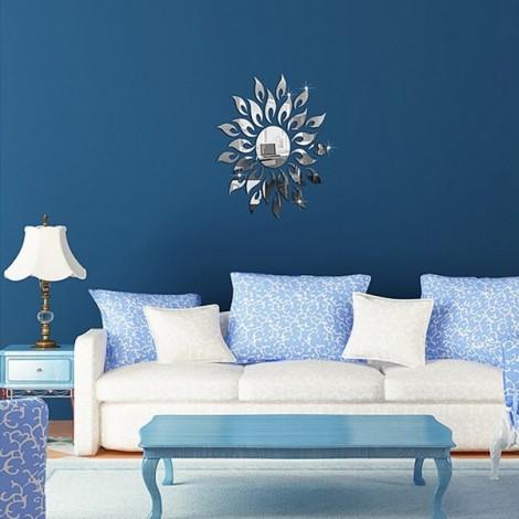 Sun Mirror Design Acrylic Silver Wall Sticker Frame Luxury Home Decoration Silver