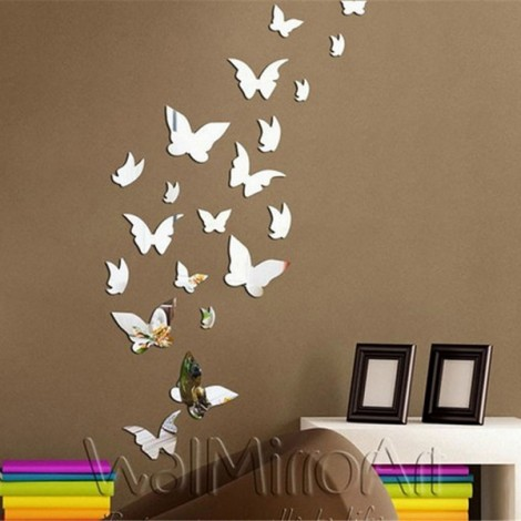 Newest Butterfly Mirror Wall Sticker Innovative Wall Decoration Sticker Silver