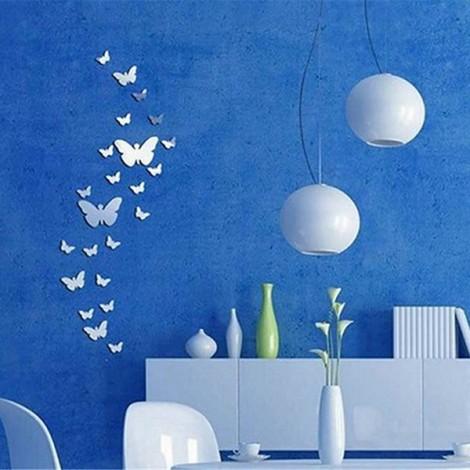 25pcs Butterfly Modern Plastic Mirror Wall Home Decal Decor Vinyl Art Stickers