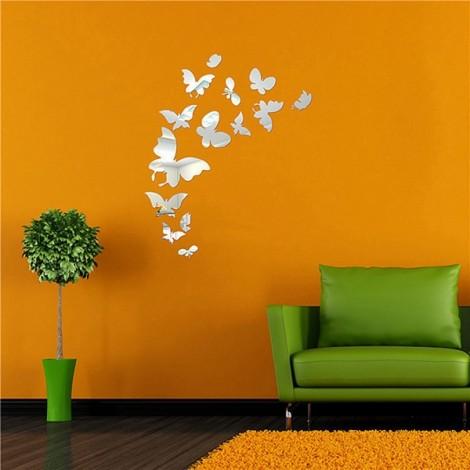 Fashion 14pcs Mirror Stlye Butterfly DIY Removable Decal Vinyl Art Wall Sticker Decor Silver