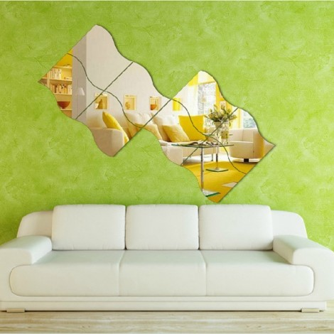 Wave Stereoscopic Mirror Wall Sticker Creative Housing Decoration for TV Background Silver