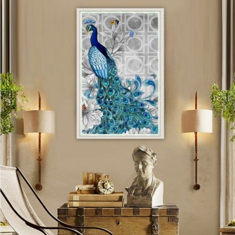 32 x 45cm 5D Diamond Embroidery DIY Beautiful Blue Peacock Decorative Picture Head to Left