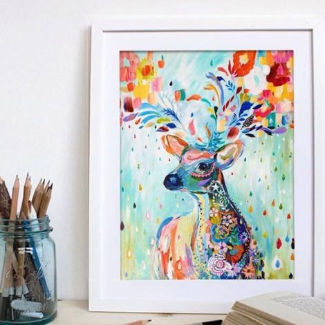 5D DIY Diamond Oil Painting Deer Embroidery Mosaic Stitch Craft Cross-Stitching Home Decor 30cm x 37cm
