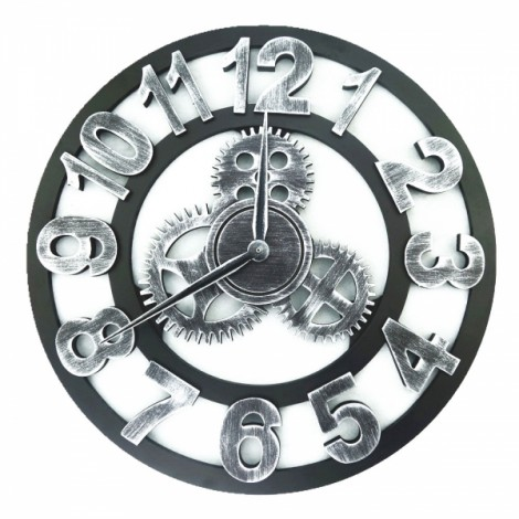 Vintage Rugged Style Oversized 3D Decorative Wall Clock Silver Arabic Numeral Hour-marker 40cm