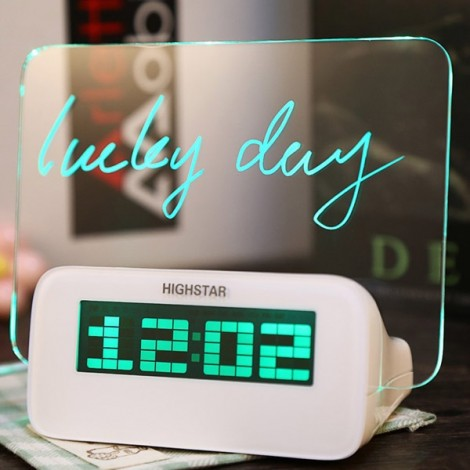 Switchable Highstar Electric Clock Memo Board with Green Light Display White