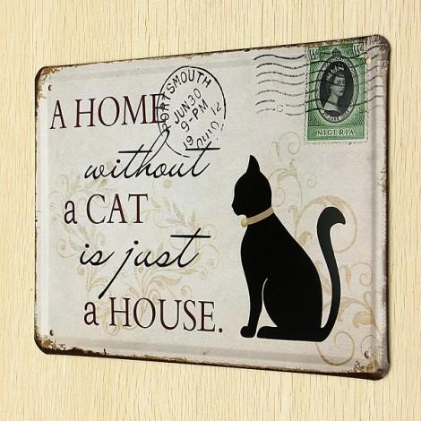 Individual Black Cat Tin Sign Stamp Vintage Pub Wall Decor