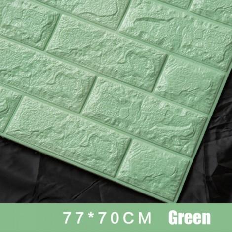 70 x 77cm PE Foam 3D Wall Stickers Brick Texture Wallpaper DIY Wall Decor Light Green