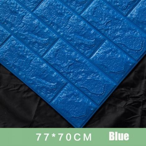 70 x 77cm PE Foam 3D Wall Stickers Brick Texture Wallpaper DIY Wall Decor Blue