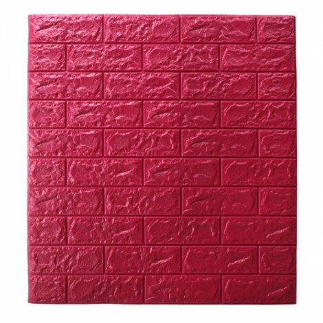 70 x 77cm PE Foam 3D Wall Stickers Brick Texture Wallpaper DIY Wall Decor Dark Red