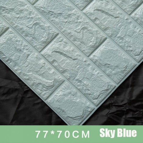 70 x 77cm PE Foam 3D Wall Stickers Brick Texture Wallpaper DIY Wall Decor Ice Blue