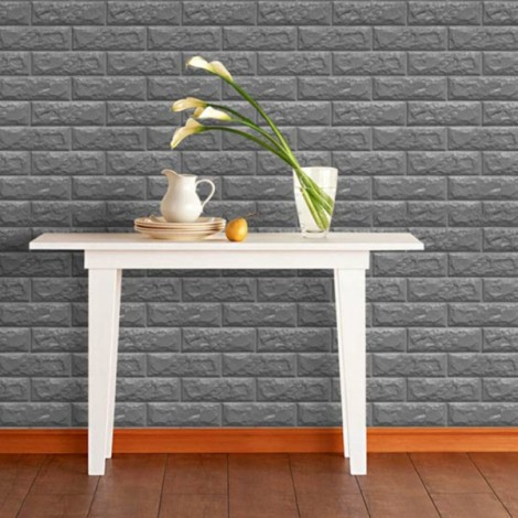 70 x 77cm PE Foam 3D Wall Stickers Brick Texture Wallpaper DIY Wall Decor Black
