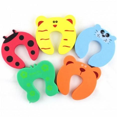 5pcs Baby Safety Product Cartoon Animal Door Stopper Holder Lock Color Random