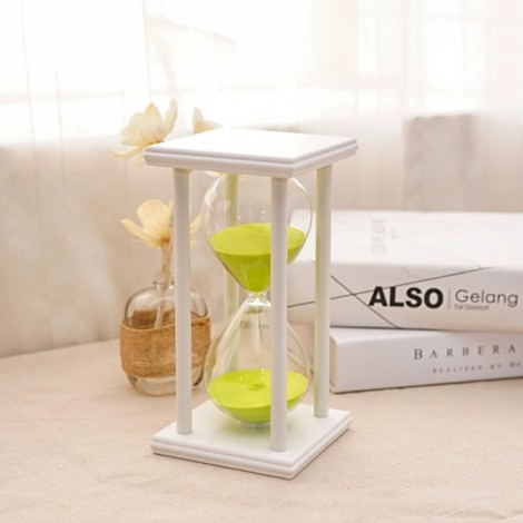 45 Minutes Sand Hourglass Timer Wooden Glass Home Decoration Creative Time Hourglass White Frame Green Sand