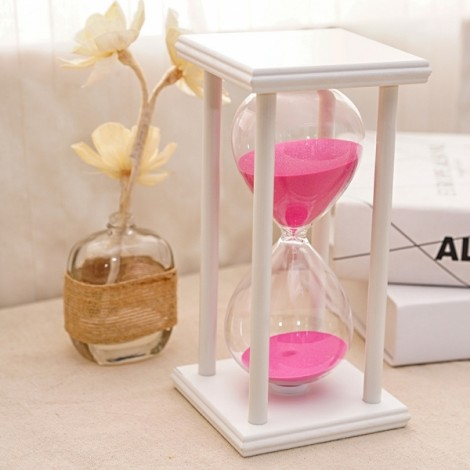 45 Minutes Sand Hourglass Timer Wooden Glass Home Decoration Creative Time Hourglass White Frame Pink Sand