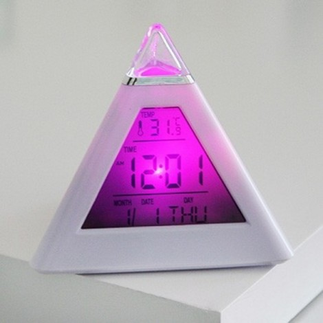 LED Change Colors Pyramid LCD Digital Snooze Alarm Clock Time Data Week Temperature Thermometer C/f Hour Home White