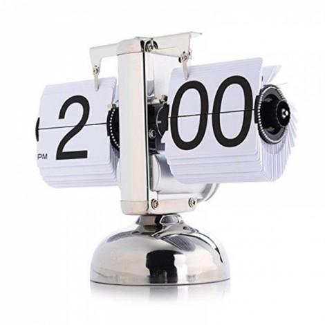 2017 Antique Style Auto Flip Digital Alarm Clock Reloj Despertador Vintage Modern Scale Metal Office Desk Clock Home Decor Single Foot White