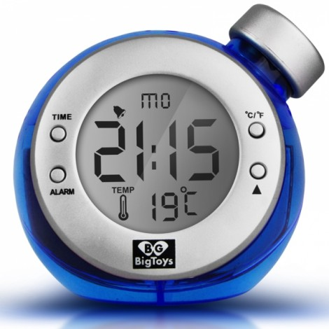 Water Powered Clock with Time Temperature Digital LCD Alarm Clock Free Shipping Blue