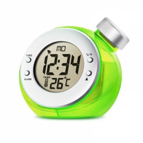 Water Powered Clock with Time Temperature Digital LCD Alarm Clock Free Shipping Green