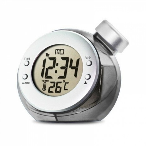 Water Powered Clock with Time Temperature Digital LCD Alarm Clock Free Shipping Gray