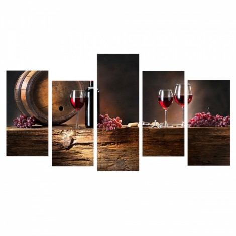 5pcs Splicing Mosaic Paintings of Living Room Spray Oil Painting Wine Bottle Wine Glass