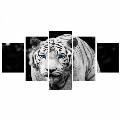 5pcs Splicing Mosaic Paintings of Living Room Spray Oil Painting Tiger