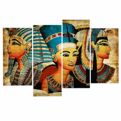 4pcs Splicing Mosaic Paintings of Living Room Spray Oil Painting Ancient Egypt Hang Painting with 4pcs Type B