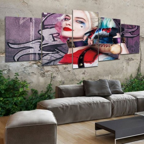 5pcs Splicing Mosaic Paintings of Living Room Spray Oil Painting The Expendables Harley Quinn