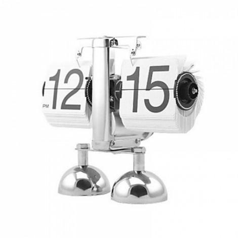 2017 Antique Style Auto Flip Digital Alarm Clock Reloj Despertador Vintage Modern Scale Metal Office Desk Clock Home Decor Dual Foot White