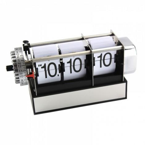 Fashion Table Auto Flip Gear Scale Design Metal Digital Alarm Clock Xmas Gifts White