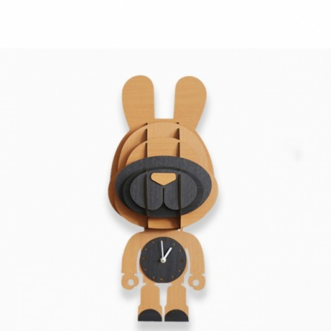 Simple Countryside Wall Decoration Cartoon Changeable Wood Animals Clock Yellow Rabbit
