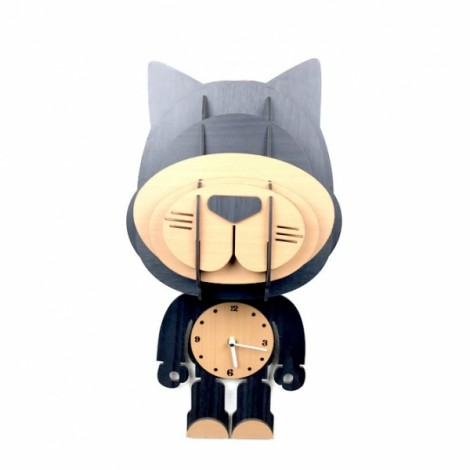Simple Countryside Wall Decoration Cartoon Changeable Wood Animals Clock Gray Cat