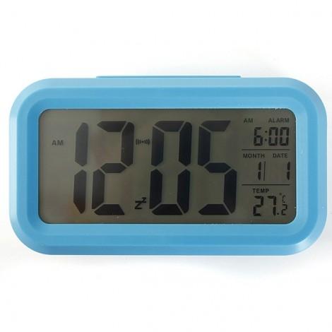 LED Digital LCD Alarm Clock Time Calendar Thermometer Snooze Backlight - Blue