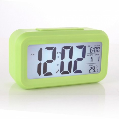 LED Digital LCD Alarm Clock Time Calendar Thermometer Snooze Backlight - Green