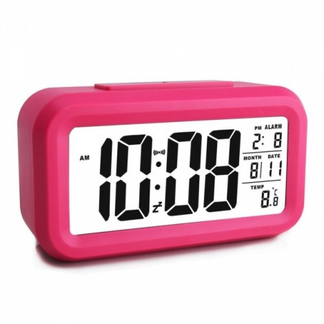 LED Digital LCD Alarm Clock Time Calendar Thermometer Snooze Backlight - Red