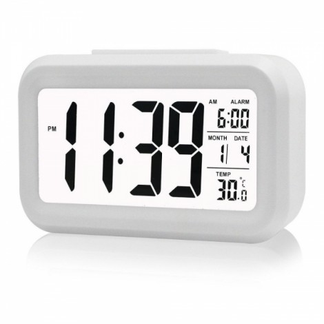 LED Digital LCD Alarm Clock Time Calendar Thermometer Snooze Backlight - White