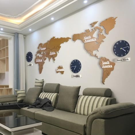 Creative 3D Home Decoration World Map Large Wall Clock Simple DIY Personalized Art Wooden Hanging Clock - Brown