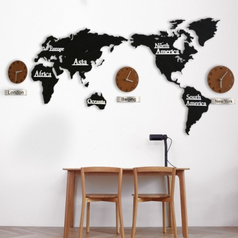 Creative 3D Home Decoration World Map Large Wall Clock Simple DIY Personalized Art Wooden Hanging Clock - Black