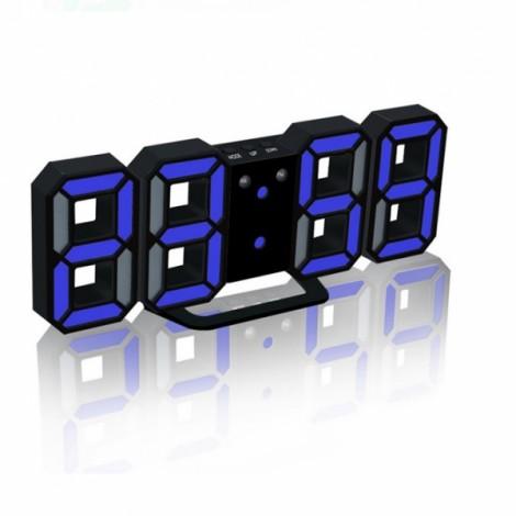 Modern Digital LED Table Desk Clock Watches 24 or 12 Hour Display Alarm Snooze-Black Shell&Blue Digital