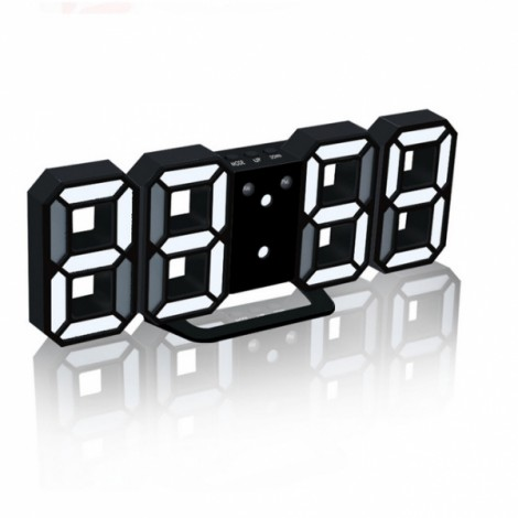 Modern Digital LED Table Desk Clock Watches 24 or 12 Hour Display Alarm Snooze-Black Shell& White Digital
